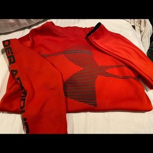 Red and black youth under armour hoodie